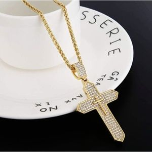 """Mens 18K """"Intercross"""" Gold Plated Iced Out Cross"""